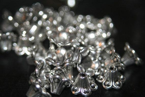 CLOSEOUT SALE - Antique Silver Beautiful Bali Style Flower Bead Caps - 20 pcs