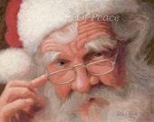 Santa Print - Santa Claus Print- Christmas Print - 11 x 14 -  FREE SHIPPING
