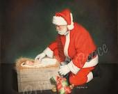 Santa With Christ Child - Christmas Painting - Santa - Jesus - Manger - Canvas - Super Sale Item -11 x 14 - canvas