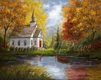 Church Painting - Old Church Painting - Autumn - Lake - Boat - 16 x 20