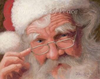 Santa Painting -  Santa Claus - Painting - Art - Christmas -  Protrait -  11 x14
