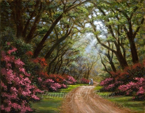Path Landscape Painting - Flower Landscape Painting - Trees Flowers Path - Mother And Child - Original Painting - 11 x 14 - On Sale Now