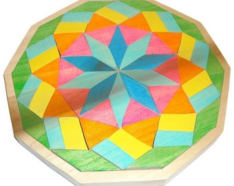Wooden Mosaic Mandala Tray Puzzle - Star and Stripes Ready to ship