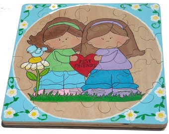 Best Friends Children's Handpainted Wooden Jigsaw Puzzle