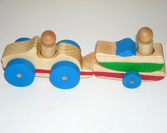 Wooden Toy Car with Trailer, Ski Boat and Two Wooden People Ready to Ship
