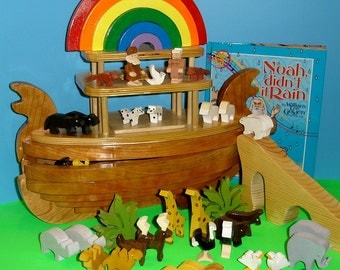 Heirloom Noahs Ark Wooden Toy  Storytelling Playset With Book, Pretend Play,