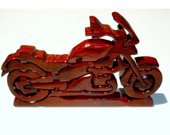 Exotic Hardwood Padauk Motorcycle Puzzle with Stand