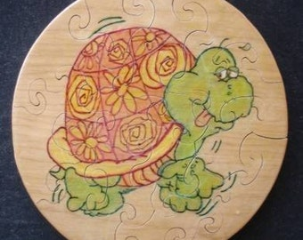 Handcrafted Childrens Wood Burned Picture Jigsaw Puzzle - Groovey Turtle
