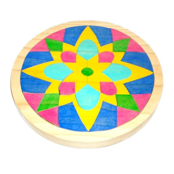 Children's Mosaic Puzzle with Personalized Lid - Waldorf Toy - Wooden Mandala Flower