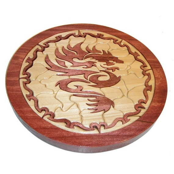 Tribal Dragon Wooden Mosaic Tray Puzzle