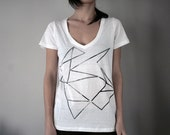 faded black geometric print t-shirt