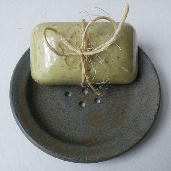Last Minute Gifts - Stoneware Pottery Soap Dish - Woodland Green - Bath - Kitchen Sink