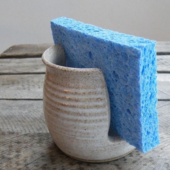 White Pottery Sponge Holder -- handmade kitchen ceramics
