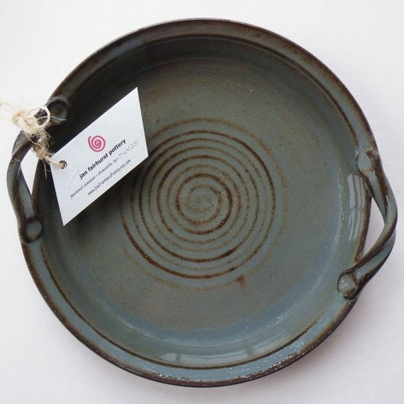 Blue Gray Stoneware Pottery Dish - Dining and Entertaining - Dishes - Vegetable Dish - Ceramic Baking Dish - Ovenware - Serving Dish