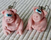 Mini Pig Earrings, Chubby and Pink by Pook Designz