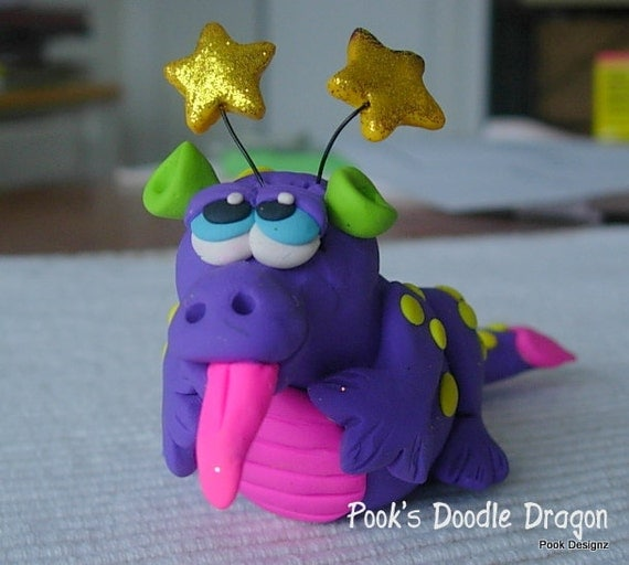 Polymer clay dragon cake topper/figurine handmade by Pook Designz