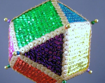 Colorful Christmas Time Sequin Ornament