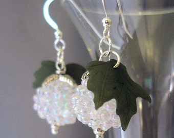 Lucite Bead Earrings - White Earrings - Lucite Earrings - Christmas Earrings - Dangle Earrings -Sterling Silver Earrings - Beaded Earrings