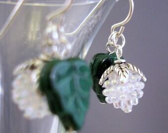 White Earrings - Lucite Earrings - Christmas Earrings - Dangle Earrings -Sterling Silver Earrings - Lucite Bead Earrings - Beaded Earrings