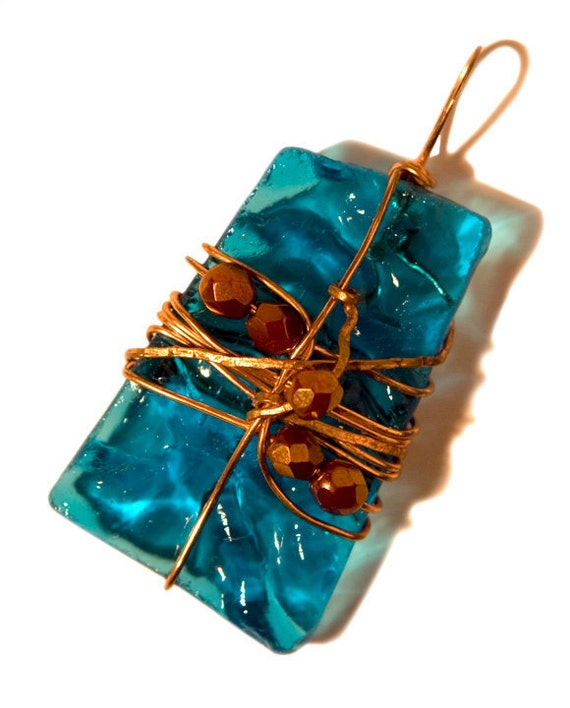 Rippling Turquoise Recycled Glass  & Copper Pendant