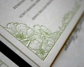 Sheffield- SAMPLE- Floral Scrollwork Letterpress Wedding Invitations