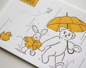 Letterpress baby Shower Invitation - A7 size 2-color with printed envelopes - 50 quantity