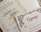 Art Nouveau - SAMPLE - Letterpress Wedding Invitation