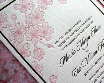 Letterpress Wedding Invitation, Cherry Blossoms  - SAMPLE