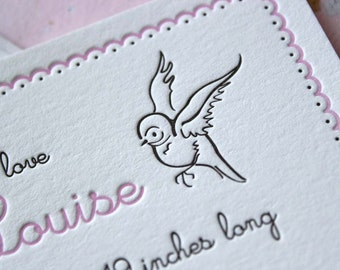Letterpress Birth Announcements - Forest Friends - SAMPLE