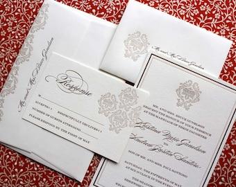 Imperial - SAMPLE Letterpress Wedding Invitation