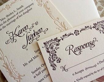 Art Nouveau - SAMPLE - Letterpress Wedding Invitation