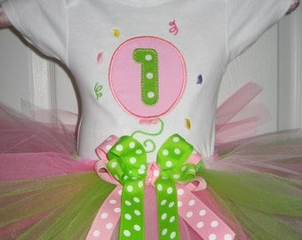 Baby girls Birthday Balloon tutu set, Pink and Green tutu set, embroidered tutu set