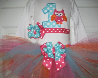 Baby girl Hot pink and aqua owl tutu set, owl birthday outfit, owl cake smash outfit
