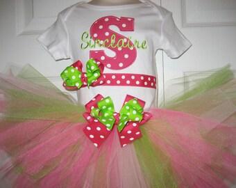 Baby girl Hot Pink and Green Initial tutu set, Hot pink tutu, photo shoot outfit
