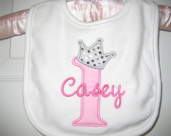 Boutique FIrst Birthday Princess monogrammed bib