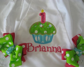 Boutique First Birthday cupcake monogrammed bloomers
