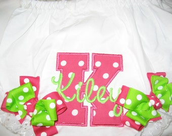 Baby girl Hot pink Bloomers, monogrammed bloomers, Hot pink and lime green, personalized bloomers, cake smash