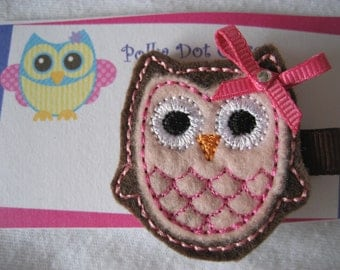 Pink and Brown felt owl Hair clip Hair bow