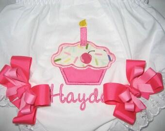 Birthday cupcake monogrammed bloomers