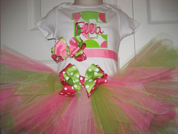 Hot Pink and Green Initial mongrammed tutu set with bow