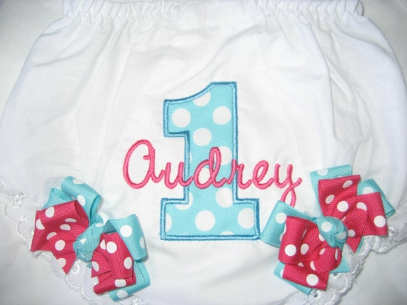 Boutique First birthday number one monogrammed bloomers