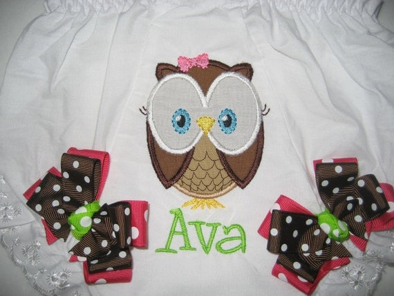 Boutique Owl monogrammed bloomer with bow
