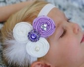 Baby  headband....The Ella Grace, Newborn Headband in lavender..vintage inspired headband ..baby hair bows