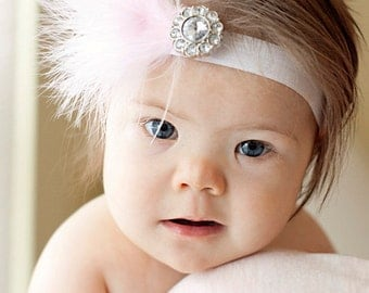 Pretty PInk Feather  Newborn Headband....toddler or baby headband...photography prop