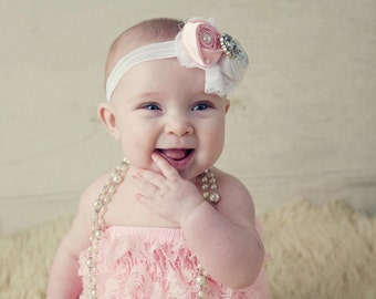 Pink Lace Romper..SALE PriCEd ...ReaDy to SHiP...Baby romper. Petti romper...Lace Bloomers..newborn or first birthday photo shoots
