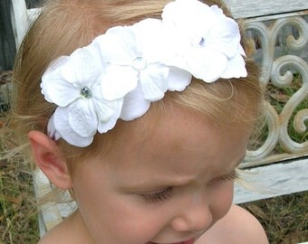 Baby Headband.....White triple Hydrangea.... newborn headband...also great for infant toddler or girls