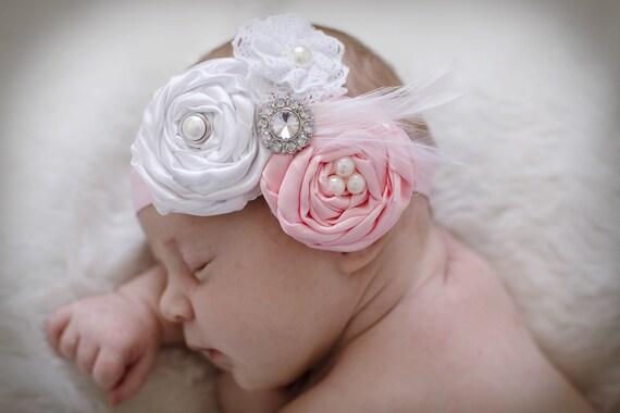 Baby headbands..baby headband..hair bows....see STore The Ella Grace..Vintage inspired Newborn Headband...baby hair bows