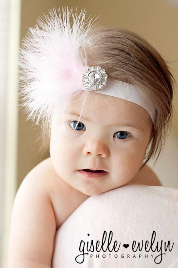 Pretty PInk Feather  Newborn Headband....toddler or baby headband...photography prop