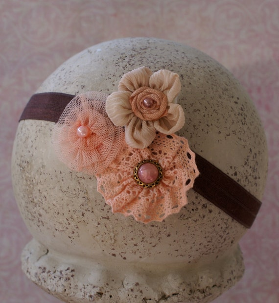 Baby Headband.....Romantic Vintage newborn headband in shades of coral pink and taupe also sized to fit infant toddler girl teen or women