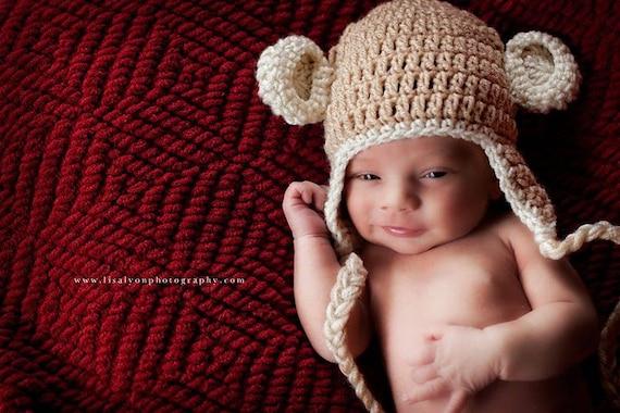 On Sale....Newborn Baby Hats....Ready to Ship...Monkey hats...boy hats... PerfectlY AdoRABLE MoNKey HaT....Newborn photography prop.....